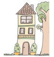 Doodle of 3-storey house vector image