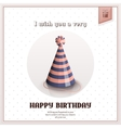 Happy birthday greeting card with festive stripy vector image
