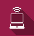 laptop and wireless icon isolated with long shadow vector image
