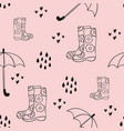rain cute seamless pattern with rubber boots and vector image