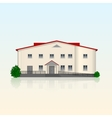 Realistic separately standing office building with vector image