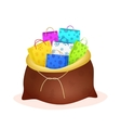 Santas sack filled with shopping bags and gifts vector image