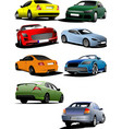 eight cars on the road vector image vector image
