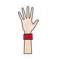 cartoon one hand palm shows five fingers vector image