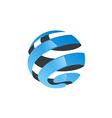 globe abstract ribbon technology logo vector image