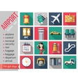 Set of airport flat icons Set of paper ribbons vector image