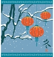 winter landscape with Chinese lanterns vector image