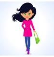 fashion girl green vector image