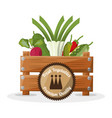 fresh vegetables premium quality box wooden image vector image