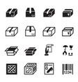 box shipping logistics icons set vector image