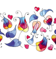 Rainbow tulips and hearts vector image