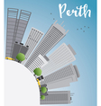 Perth skyline with grey buildings blue sky vector image