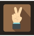 Hand with victory sign icon flat style vector image