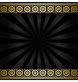 black background with golden decorations and rays vector image