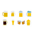 glass of beer icon set flat style vector image