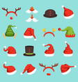 hats of different christmas characters cap of vector image