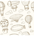 Hot Air Balloons doodle seamless pattern Vintage vector image