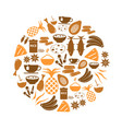 indian food theme set of simple icons in circle vector image