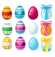 Colorful Easter eggs with ribbon and without vector image vector image