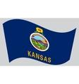 Flag of Kansas waving on gray background vector image