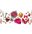 Colorful sketch valentine horizontal border vector image