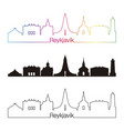 reykjavik v2 skyline linear style with rainbow vector image