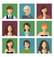 female avatars set in office style vector image vector image