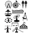 Amusement parks carnival icons set vector image