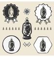 Kerosene lamp lantern vintage symbol emblem label vector image
