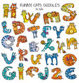 funny cats doodles set color vector image