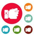 hand greed icons circle set vector image