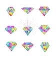 Set of polygonal mosaic diamonds vector image