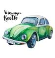 watercolor of retro green car vector image