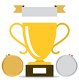 Win - Trophy Cup Icon with Medals Isolated on vector image