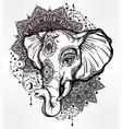 decorative elephant with tribal mandala ornament vector image vector image