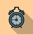alarm clock icon with long shadow vector image