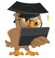 Owl teacher holds tablet computer vector image