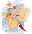 cute Pig and Windy Autumn Day Cartoon vector image