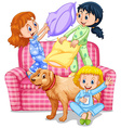 Three girls playing pillow fight at slumber party vector image