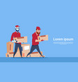 courier robot carry box delivery package post vector image