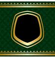 golden ornament on green ornamental background vector image