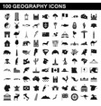 100 geography icons set simple style vector image