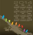 2014 Creative Birds Calendar vector image