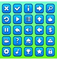 Game blue square buttons set vector image