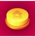 Big realistic yellow home button with shadow vector image