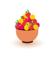 different colored apples in the basket vector image
