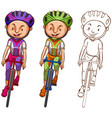 doodle character for man cycling vector image