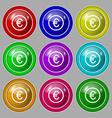 Euro icon sign Symbol on nine round colourful vector image
