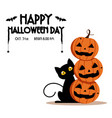 happy halloween day bat and spider on text vector image