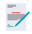 Business contract and pen vector image vector image